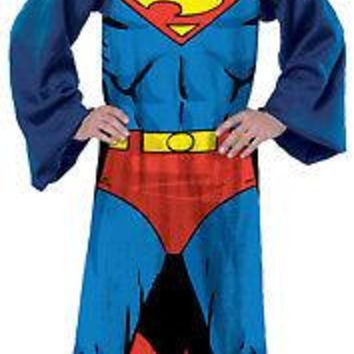Licensed cool DC  Super Hero Superman Comfy THROW Fleece Blanket w/Sleeves Snuggie