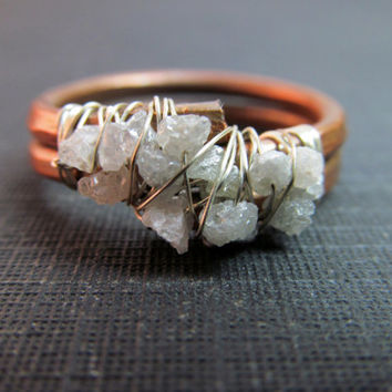 Raw Uncut Rough Diamond Cluster Ring - Copper & Sterling Silver Wire Wrapped Ring - Gemstone Ring - April Birthstone