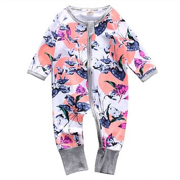 Cotton Newborn Baby Girl Floral Clothes long Sleeve Romper Zipper Jumpsuit Playsuit Outfit