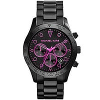 Michael Kors Layton Black IP Neon Pink Dial Accents Watch