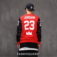 Mens XQUARE Leather Sleeve Jordan 23 MVP Jerseyshirt at Fabrixquare