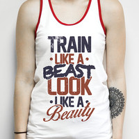 Train Like a Beast Look Like a Beauty, White and Red Ringer Tank -Gym Tank, workout. Running Tank, Gym, Shirt, Shirt, crossfit tank, clothes