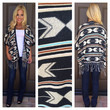 On The Fringe Tribal Print Cardigan - CHARCOAL GREY
