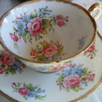 Vintage Teacup Tea Cup and Saucer Rose Pattern China Made in England 1930s Gift for Tea Lovers