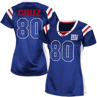 Victor Cruz New York Giants Women's Draft Him Shimmer V-Neck T-Shirt – Royal Blue