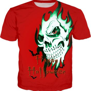 Happy Halloween! Tee shirt design, red and green color demonic ghost face, skeleton skull