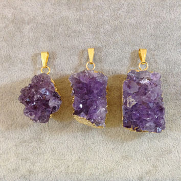 Gold-Plated Amethyst Crystal Druzy Pendant - You Pick!