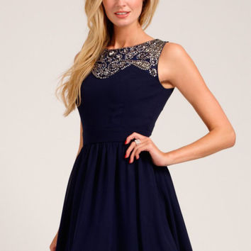Little Mistress Navy Embellished Lace Detail Sweetheart Neckline Prom Dress