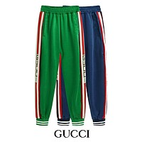 GUCCI Trending Women Men Stylish Stripe String Mark Letter Print Elastic Waistband Silk Sport Pants Trousers Sweatpants I-CP-ZDL-YXC