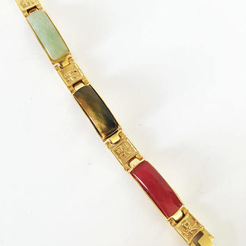 Asian Gold Tone Stainless Steel Gemstone Bracelet Healing Links Chinese Oriental Good Luck Symbolic Jewelry