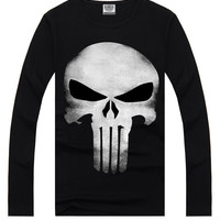 Black 3D Mask Print Long Sleeve T-Shirt