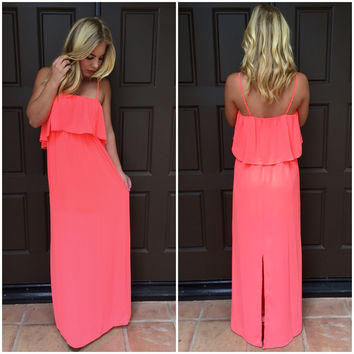 Spent In The Sun Maxi Dress  - NEON CORAL