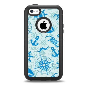 The Blue Nautical Collage V5 Apple iPhone 5c Otterbox Defender Case Skin Set