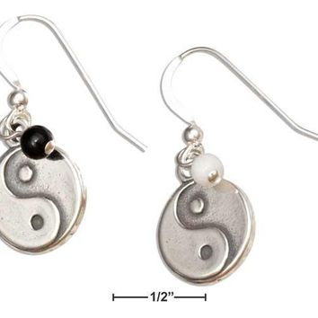 Sterling Silver Earrings:  Chinese Symbol Yin Yang Dangle Earrings With Onyx And Marble Beads