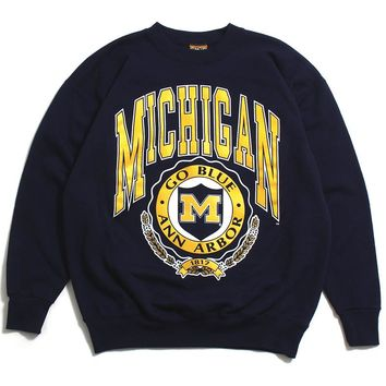 University of Michigan Big Arch & Go Blue Seal Nutmeg Crewneck Sweatshirt Navy (XL)