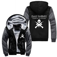 Winter Jackets Men Women Iron Maiden Zipper Jacket Sweatshirts Thicken Hoodie HEAVY METAL Coat Clothing Casual