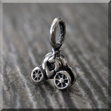 Sterling Silver European Style Pumpkin Carriage Charm, Handmade Slide Charm, Fairy Tail Charm, Big Hole Bead, Princess Slider Charm