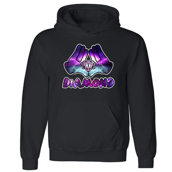 Galaxy Diamond Hands Unisex Hoodie Illuminati Triangle Dope Hooded Sweatshirt