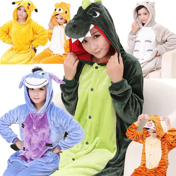 2015 Adults Flannel Pajamas  Pyjama Animal Suits Cosplay Adult Cute Cartoon Animal Onesuits Pajama free shipping