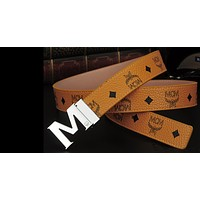 MCM Women Men Fashion Smooth Buckle Belt Leather Belt