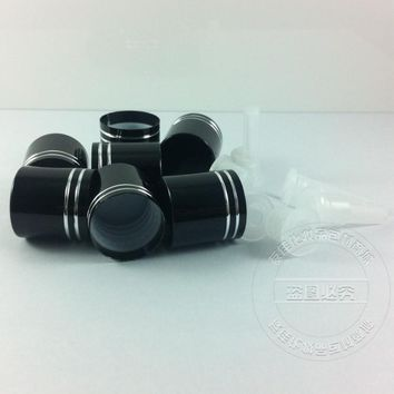 shiny black aluminum screw cap,can match with essential oil bottle,neck size:18mm,type:18/410