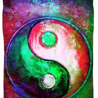 Yin Yang - Colorful Painting Vii Duvet Cover