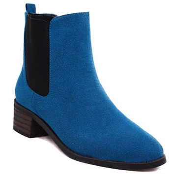 Casual Short Boots With Elastic and Suede Design