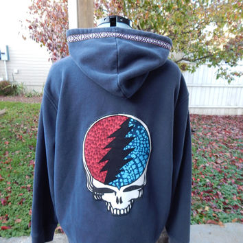 Mens Upcycled Zip Up Navy Grateful Dead Hoodie Size L Large Hippie clothes, hoodie, recycled hoodie, zip up hoodie, guys hoodie