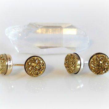 Gold Drusy Earrings - Petite Druzy Studs - Glitter Post Earrings - Agate Geode