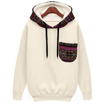 Sheinside White Hooded Long Sleeve Pocket Sweatshirt = 1931762884