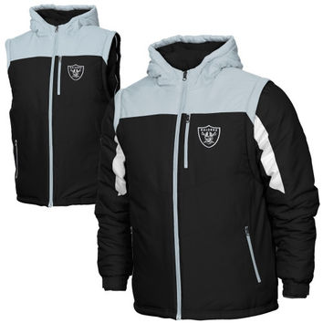 Mens Oakland Raiders Antigua Black Tempest Full Zip Jacket