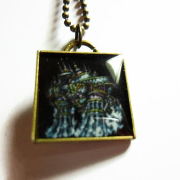 Final Fantasy Jewelry ALEXANDER pendant on brass ball chain - 18 inches free size adjustments - video game jewelry - final fantasy