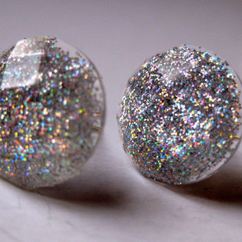 New Years Eve Ball Glitter Earrings Bling Post by PineWind on Etsy