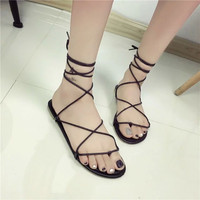 Women Faux Leather Strappy Roman Goth Gladiator Thong Lace Up Sandals Flat Shoes