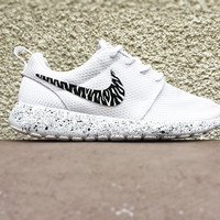 Custom Nike Roshe black and white zebra print, White with black splatter, Cute trendy design, Womens custom Roshe