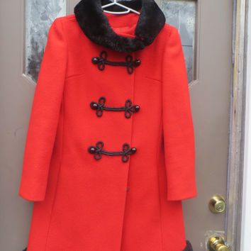 1960 fAB  Designer   RED WOOL black faux fur collar and trim princess style coat frog closures petite junior  Orignal  by Ruby  Martin