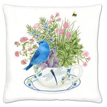 Bluebird on Tea Cup Accent Pillow