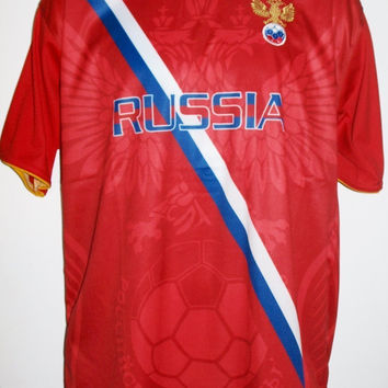 """Russia Country Soccer Jersey """"One Size"""" = Athletic Men's Large by Drako"""