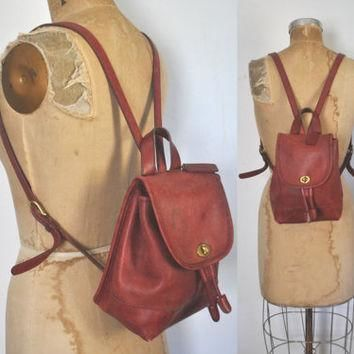 Red COACH Backpack Bookbag Purse / Leather bag