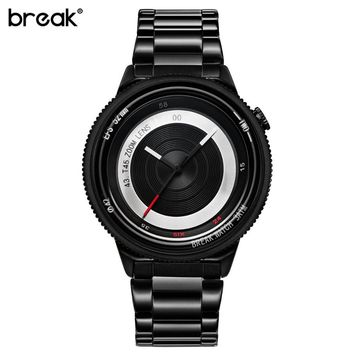 Break Original Black Steel Strap Luxury Lovers' Men Women Unisex Fashion Casual Quartz Creative Photographer Sport Cool Watches