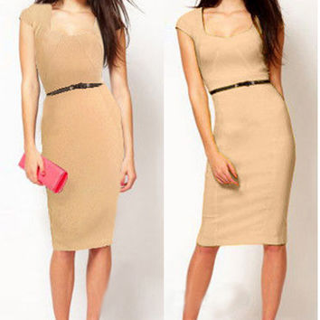 Short Sleeve Back Zipper Bodycon Midi Pencil Dress with Belt