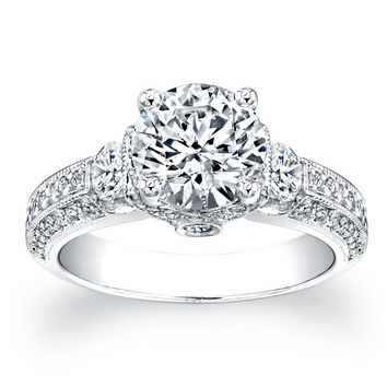 Ladies Platinum pave diamond engagement ring 1.00 ctw G-VS2 with 1.60 ct Round White Sapphire Center