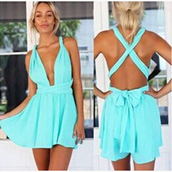 Blue Beach Casual Hot Sale One Piece Dress [4966225732]