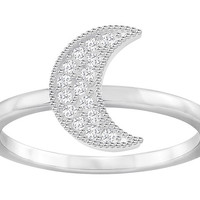 Swarovski | Field Moon Ring, White, Rhodium Plating