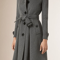 Skirted Wool Cashmere Coat
