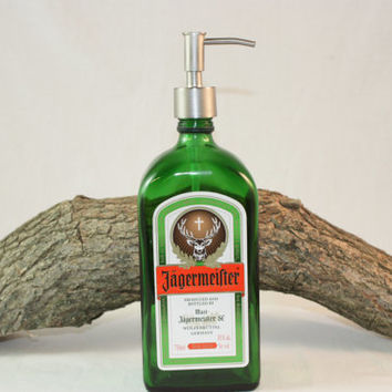 Upcycled Liquor Bottle Dispenser Set, Soap Dispenser, Lotion Dispenser,  Upcycled Jagermeifter Liquor Bottle