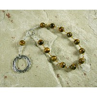 Apollo Pocket Prayer Beads in Tiger Eye: Greek God of Music and the Arts, Health and Healing