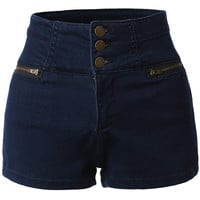 LE3NO Womens High Waisted Sailor Nautical Denim Jean Shorts with Stretch (CLEARANCE)