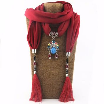 2018 Bijoux Fashion Ethnic Necklace For Women Multicolor ceramic Beads  Statement scarf Necklaces  Bohemian Jewelry NK1130