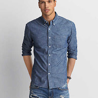 AEO Chambray Button Down Shirt , Blue